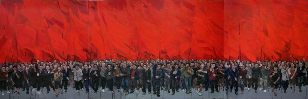 2009《红旗》 贺丹 2009年 200x600cm 布面油画.jpg